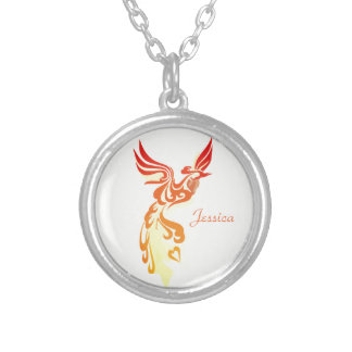 Personalized Elegant Fiery Phoenix Silver Plated Necklace