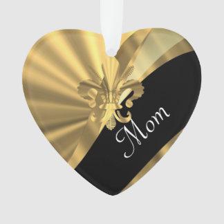 Personalized elegant gold mom ornament
