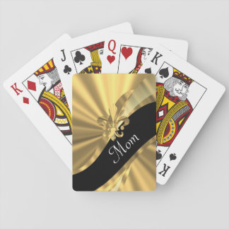 Personalized elegant gold mom playing cards