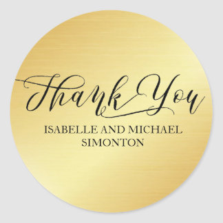 Personalized Elegant Gold with Black Thank You Classic Round Sticker