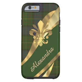 Personalized elegant green tartan plaid tough iPhone 6 case