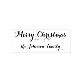 Personalized Elegant Merry Christmas Family Name Rubber Stamp