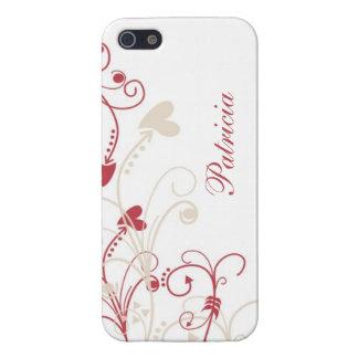 Personalized Elegant Red Beige Swirls On White iPhone 5 Case