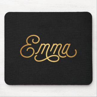 Personalized Elegant Script Emma Gold Black Mouse Pad