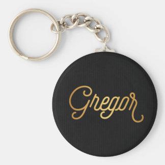Personalized Elegant Script Gregor Gold Black Keychain