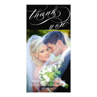 Personalized Elegant Script Wedding Thank You Photo Greeting Card
