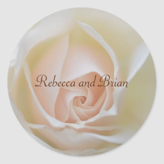 Personalized Elegant White Rose Wedding Stickers