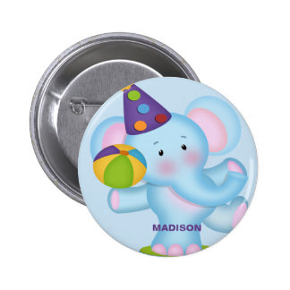 Personalized Elephant Birthday Button