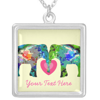 Personalized Elephants Valentine Picture Necklace