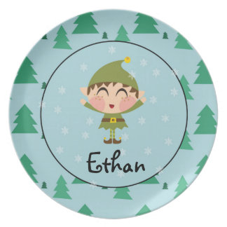 Personalized Elf Christmas Plate