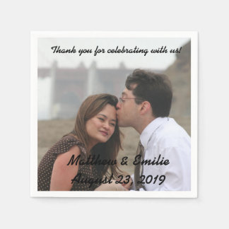 Personalized Engagement / Wedding Photo Napkins Disposable Serviettes