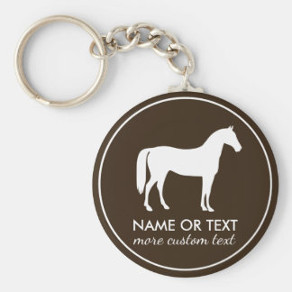 Personalized Equestrian Horseback Riding Name Basic Round Button Key Ring