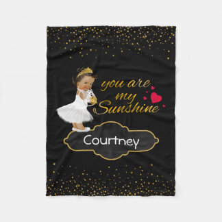 Personalized Ethnic Princess Gold Sunshine Nursery Fleece Blanket
