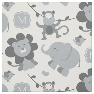 Personalized Fabric | Gray Jungle Animals