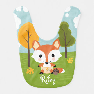 PERSONALIZED FALL FOX IN DIAPERS BABY BIB