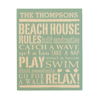 Personalized Family Beach House Rules Wood Print