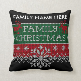Personalized Family Christmas Ugly Sweater Cushion