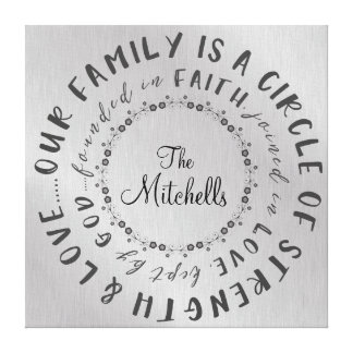 Personalized Family Circle Quote Canvas Print