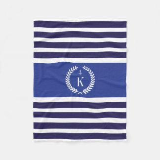 Personalized Family Crest Stripes Pattern Blue Fleece Blanket