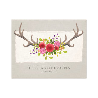Personalized Family Floral Deer Antler | Summer Canvas Print