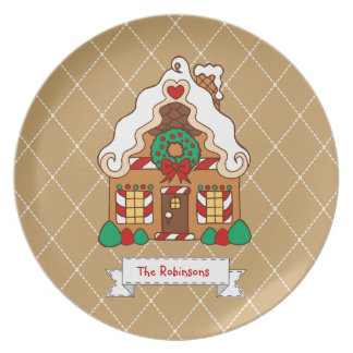 Personalized Family Gingerbread House Plate Decor