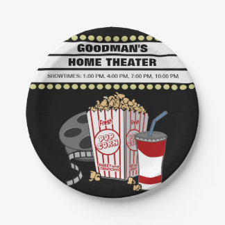 Personalized Family Home Movie Theater Customized 7 Inch Paper Plate