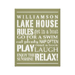 Personalized Family Lake House Rules Green | White Gallery Wrap Canvas