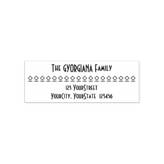 Personalized Family Name, Address, Diamond Shapes Self-inking Stamp