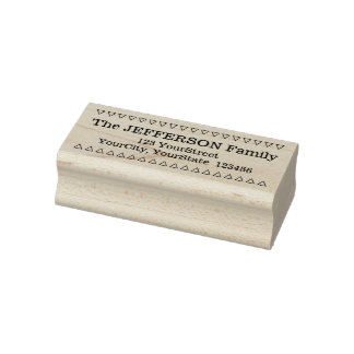 Personalized Family Name + Address + Triangles Rubber Stamp