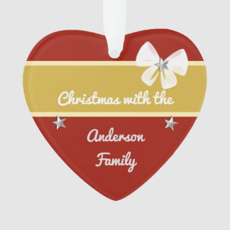 Personalized family name Christmas red and gold Ornament