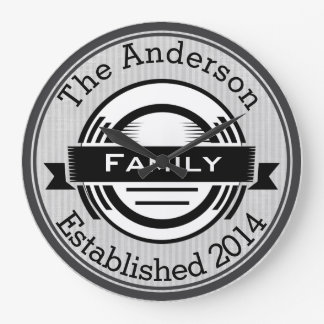 Personalized Family Name Retro Logo Style Clocks