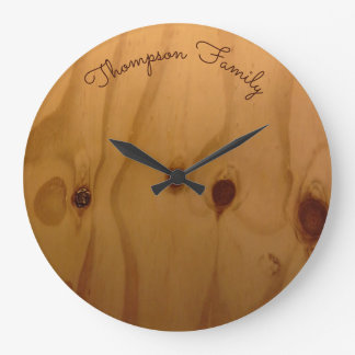 personalized family name wood rustic large clock