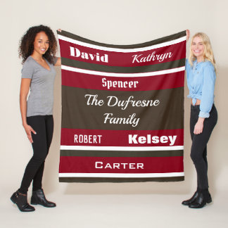 Personalized Family of Six Striped Fleece Blanket