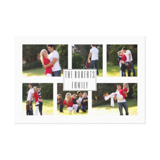 Personalized family photo collage with six photos canvas print