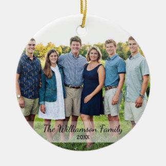 Personalized Family Photo Name Year Christmas Round Ceramic Decoration