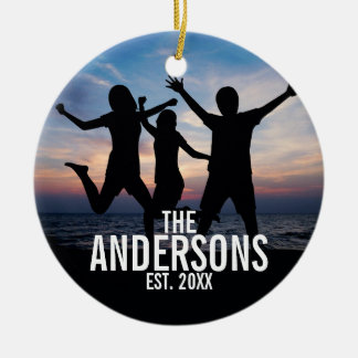 Personalized Family Photo with Family Name Christmas Ornament