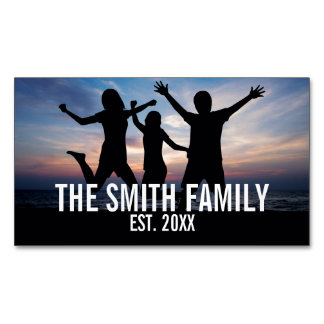 Personalized Family Photo with Family Name Magnetic Business Card