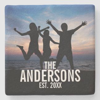 Personalized Family Photo with Family Name Stone Coaster