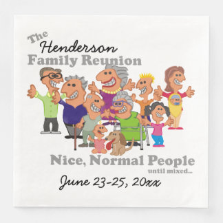 Personalized Family Reunion Funny Cartoon Disposable Napkins