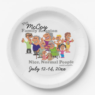 Personalized Family Reunion Funny Cartoon Paper Plate