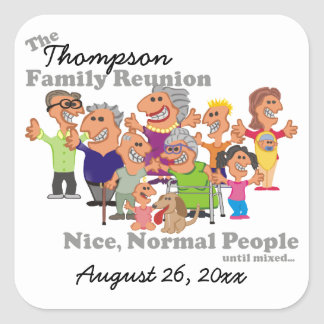 Personalized Family Reunion Funny Cartoon Square Sticker