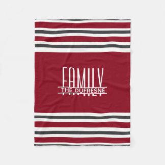 Personalized Family & Stripes Fleece Blanket