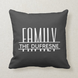 Personalized Family & Stripes Gray Cushion