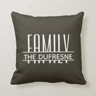 Personalized Family & Stripes Khaki Cushion