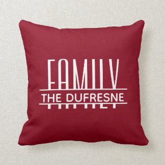 Personalized Family & Stripes Red Cushion