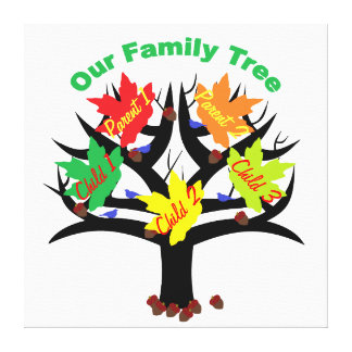 Personalized Family Tree (Family of 5) Canvas Stretched Canvas Prints