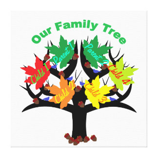 Personalized Family Tree (Family of 6) Canvas Stretched Canvas Prints