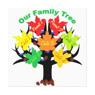 Personalized Family Tree (Family of 7) Canvas Stretched Canvas Prints