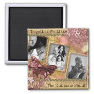 Personalized Family w/Three Photos Square Magnet