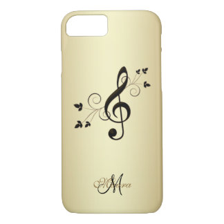 Personalized Fancy Music Clef on Gold iPhone Case